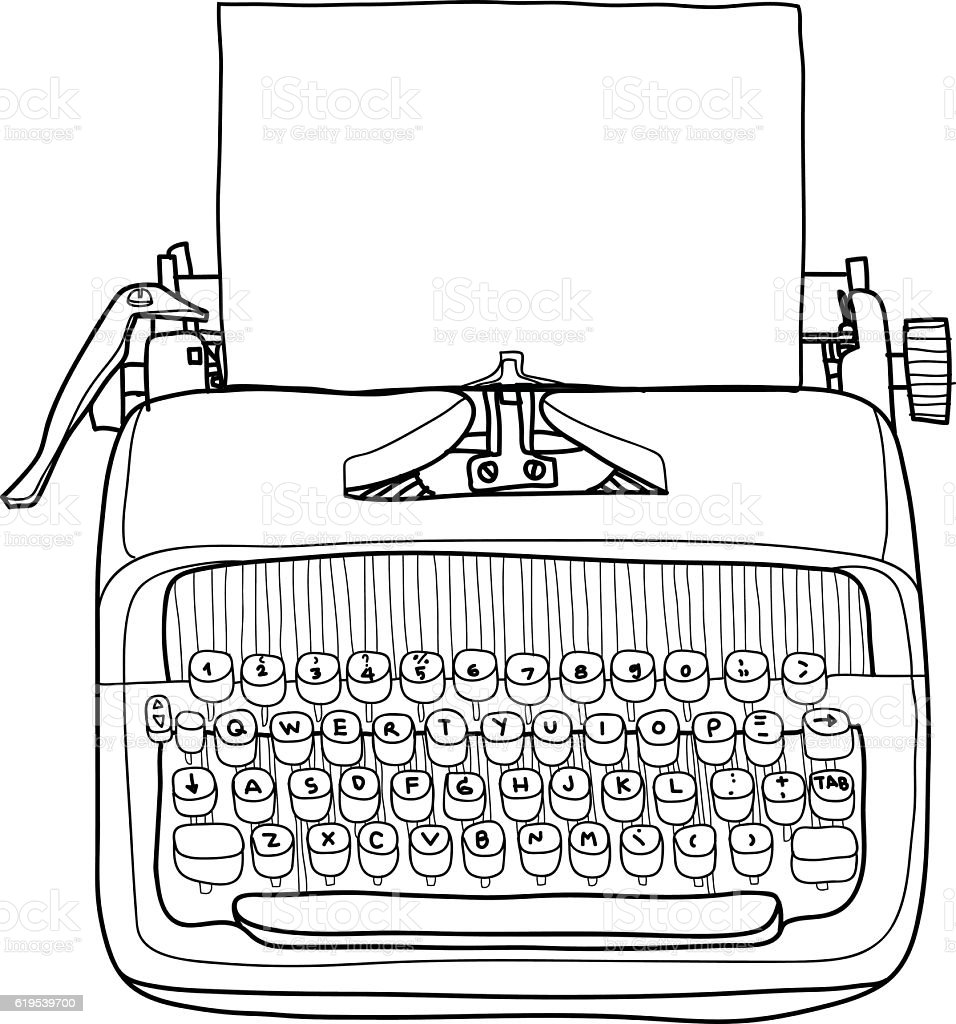 Vector Typewriter Working Portable With Paper Hand Drawn