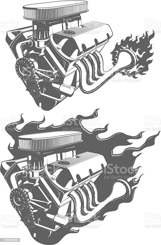 Vector V8 Engine Stock Vector Art & More Images of