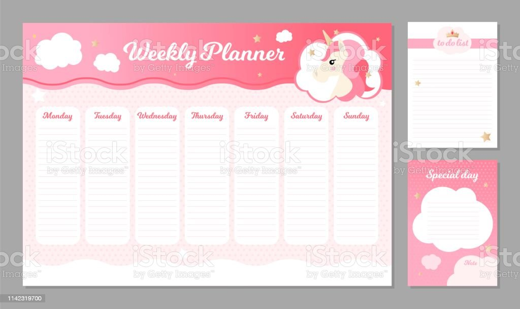 vector weekly planner with
