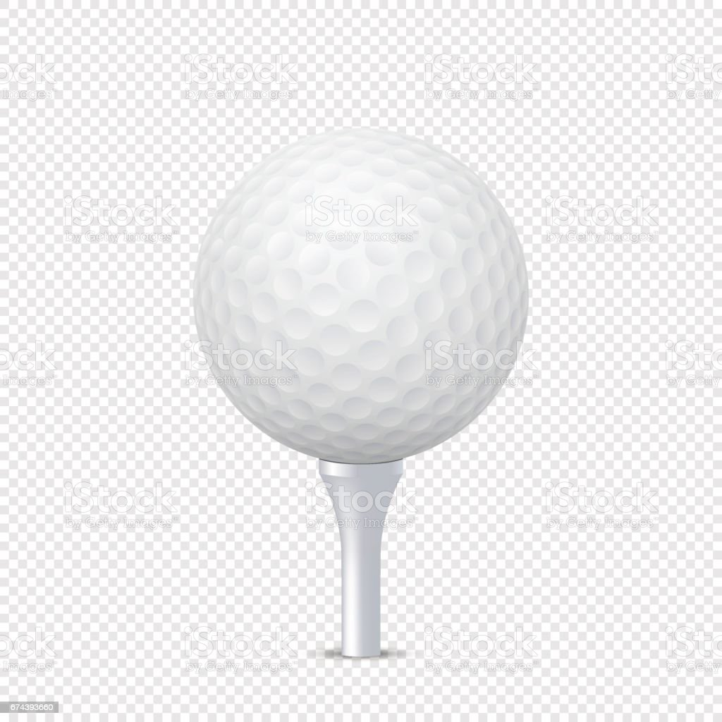 Vector White Realistic Golf Ball Template On Tee Isolated