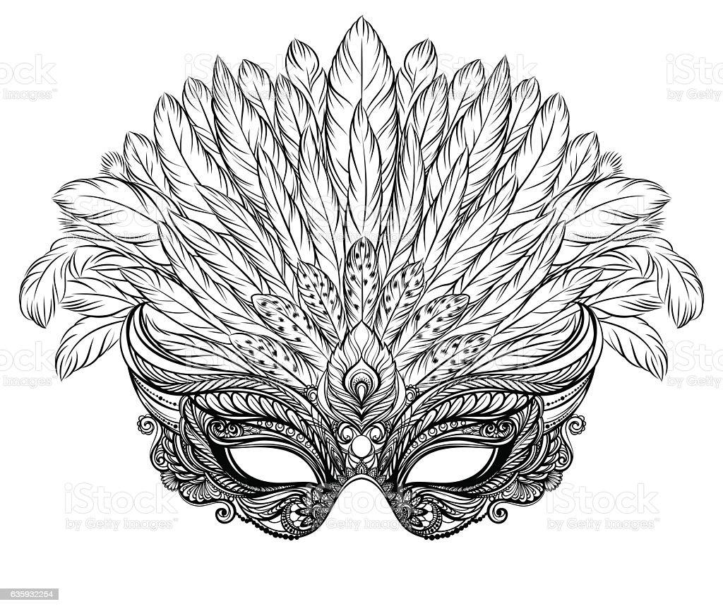 Ilustración de Venetian Carnival Mask With Feathers y más