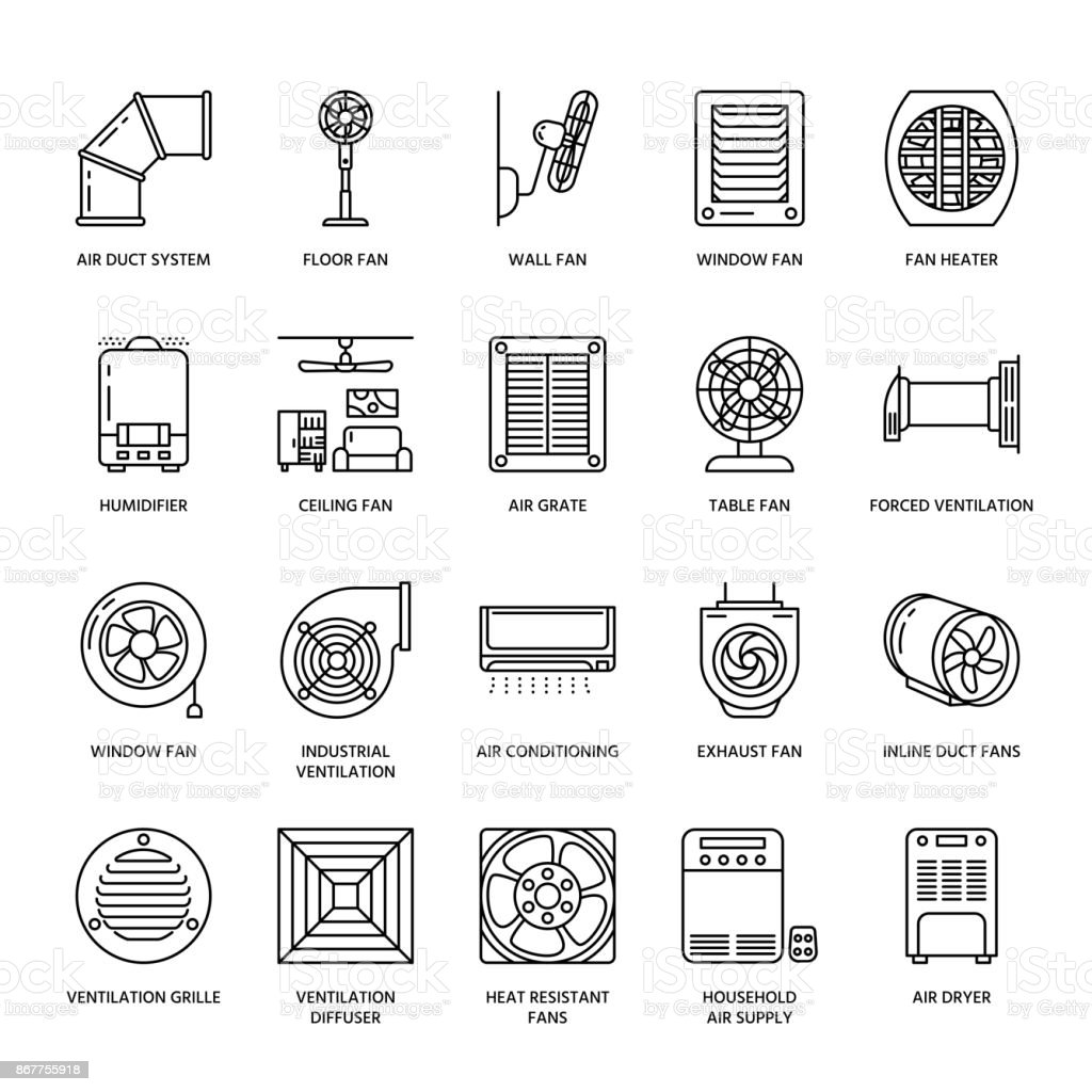 Ventilation Equipment Line Icons Air Conditioning Cooling
