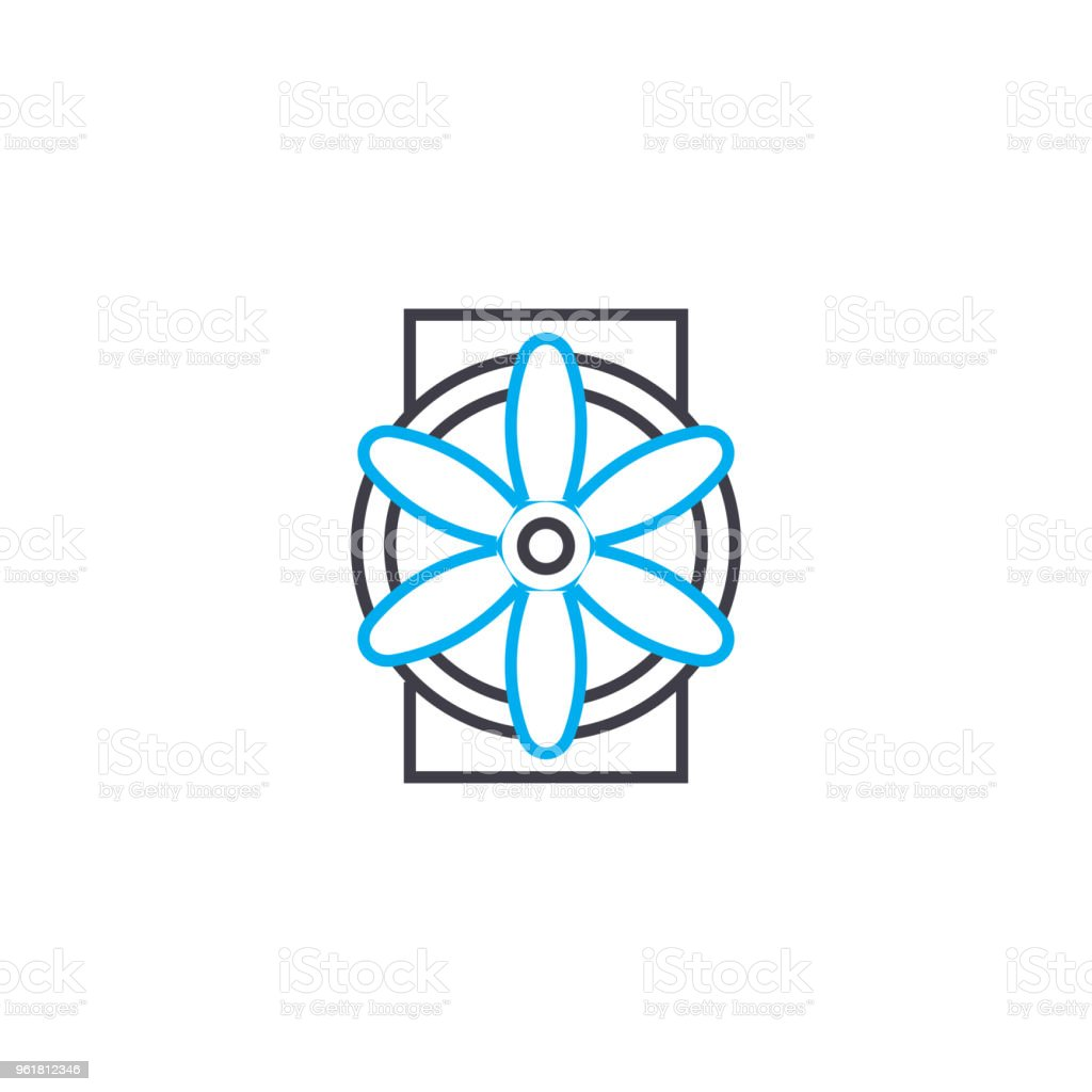 Ventilation Industrial System Linear Icon Concept