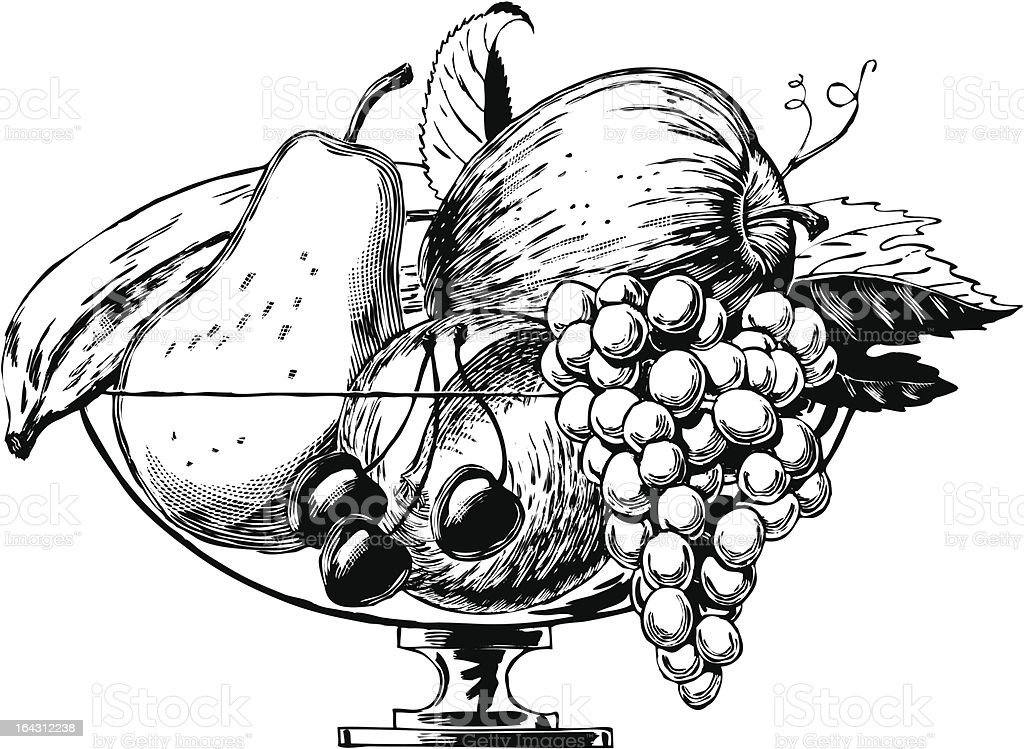 Vintage 1950s Bowl Of Fruit Stock Vector Art & More Images