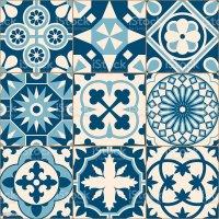 Vintage Antique Blue Mosaic Porcelain Tiles Seamless ...