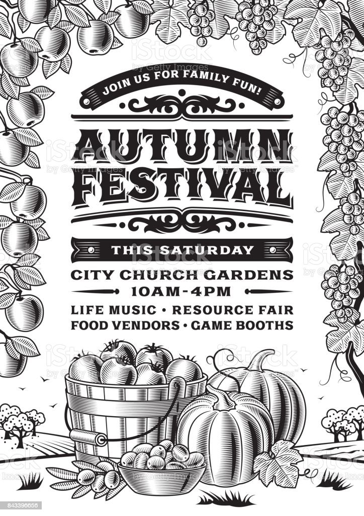 vintage automne festival affiche noir et blanc vecteurs libres de droits et plus d images vectorielles de affiche istock