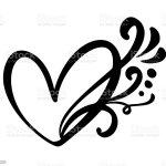 Vetores De Calligraphic Vintage Love Coracao Sinal Juncao De Simbolo Romantico De Ilustracao Vetorial Paixao E Casamento Elemento Plano Design De Caligrafia De Dia Dos Namorados Modelo Para Tshirt Cartao Convite E