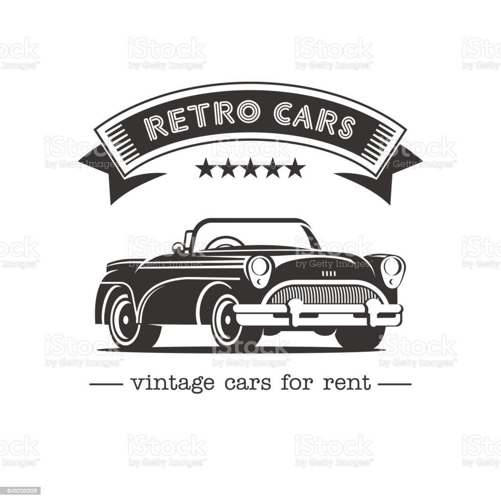 Vintage Car Sale Rental Of Vintage Cars Monochrome Vector