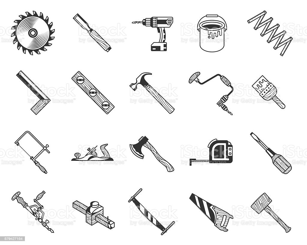 Vintage Carpenter Tools Icons Set Wood Texture Style Stock
