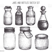 Vintage Decorative Glass Canning Jars Isolated On White ...