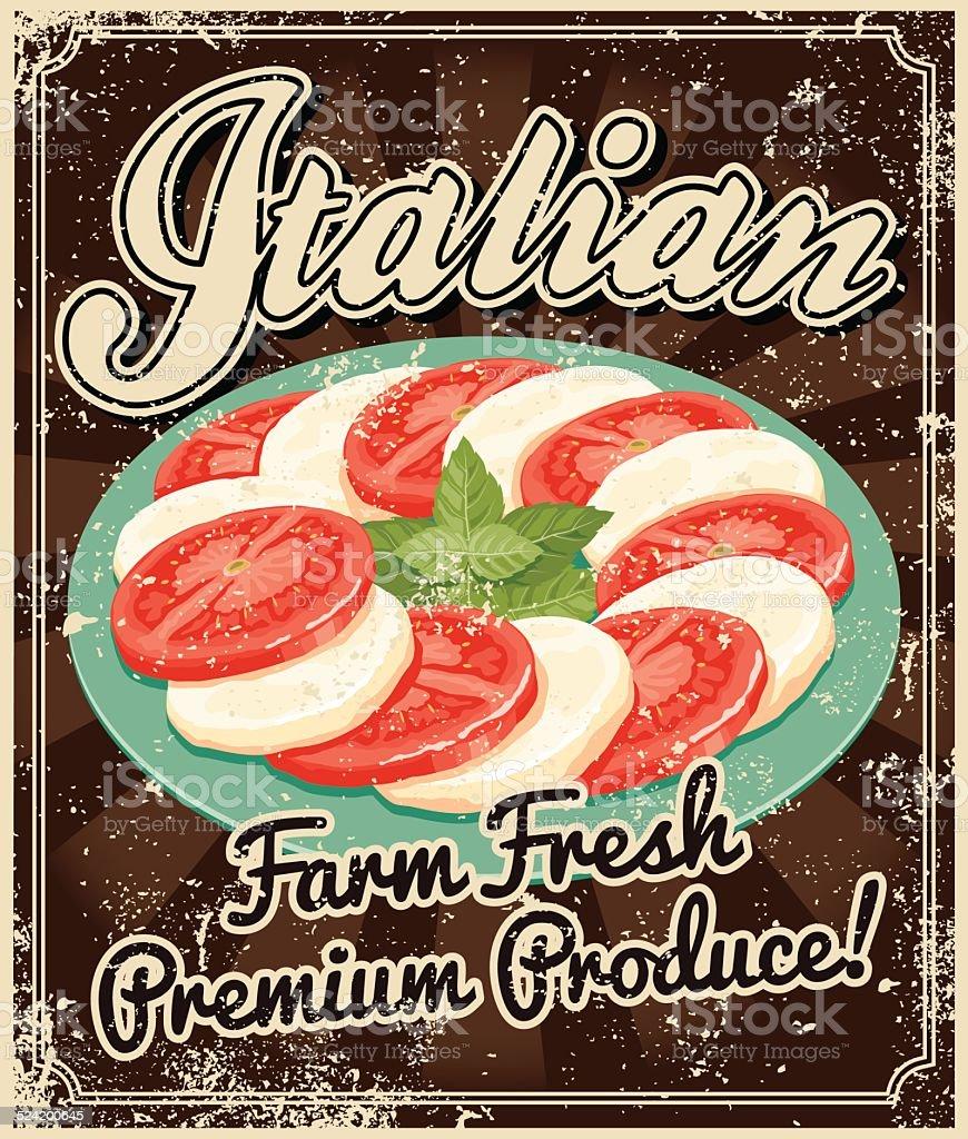 Vintage Serigrafati Cucina Italiana Poster  Immagini vettoriali stock e altre immagini di
