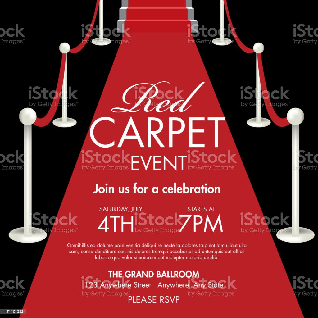 Vintage Style Red And Black Carpet Event Ticket Invitation Template ...