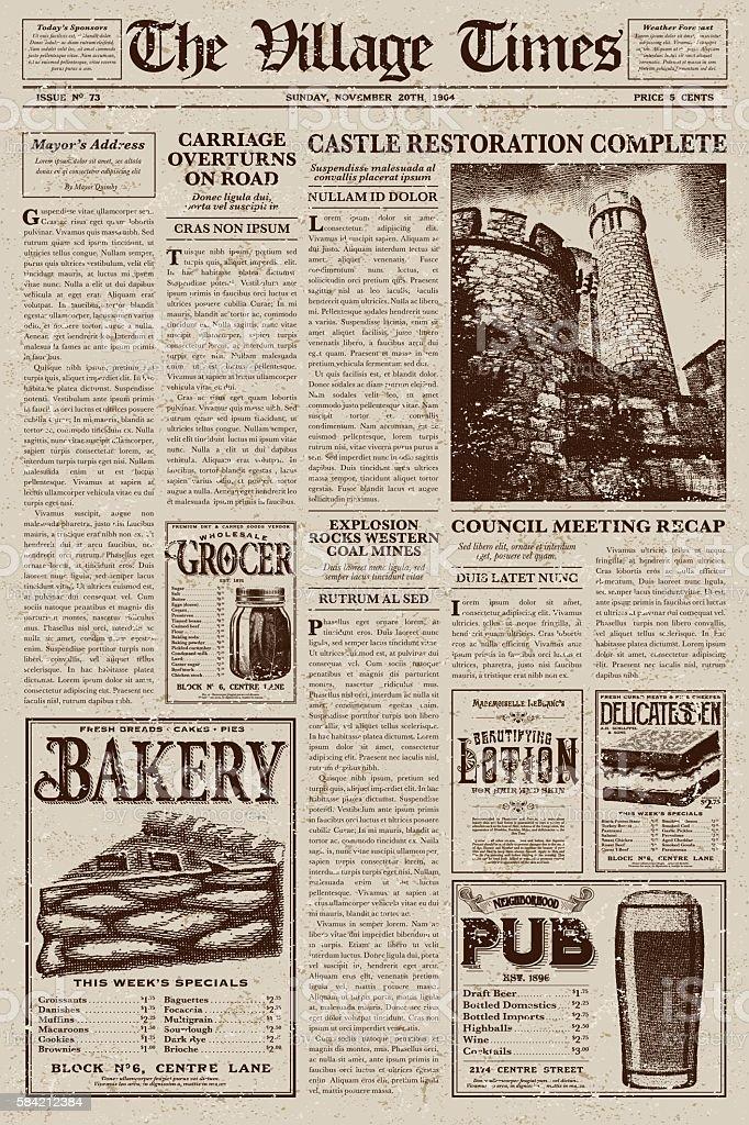 Vintage Victorian Style Newspaper Design Template Stock