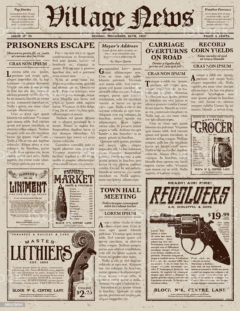 Top 60 Vintage Newspaper Clip Art Vector Graphics And