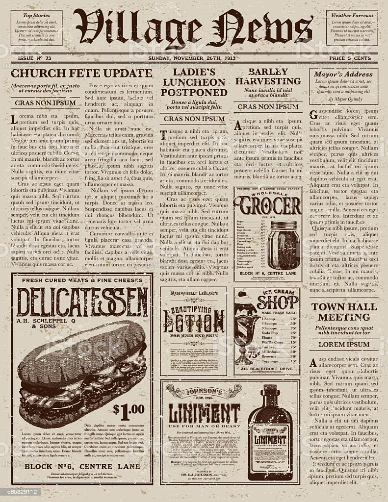 Old Newspaper Illustrations Royalty Free Vector Graphics