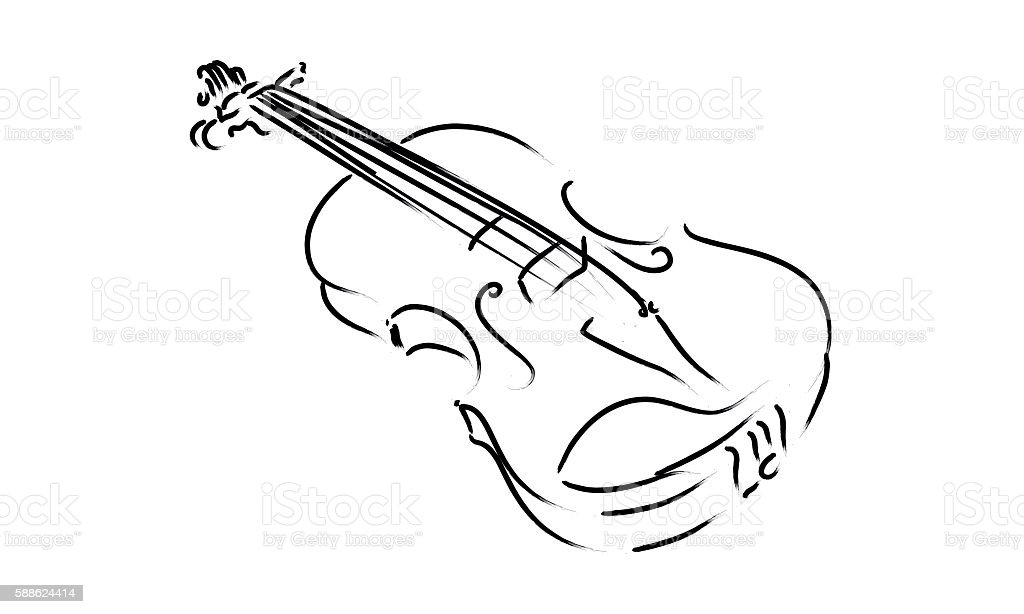 Violin Instrument Drawing Music Sign Symbol Classic Stock