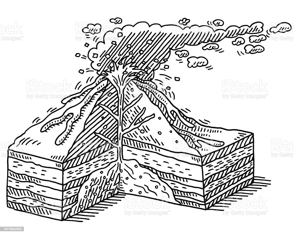 volcano diagram pipe plot of a graphic novel black and white block schematic