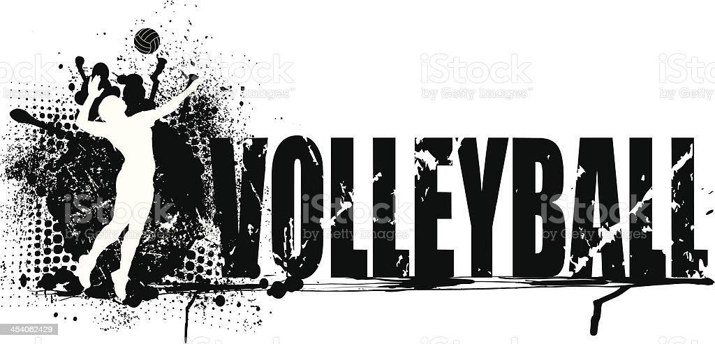 Volleyball Grunge Graphic Background Girls Stock Vector