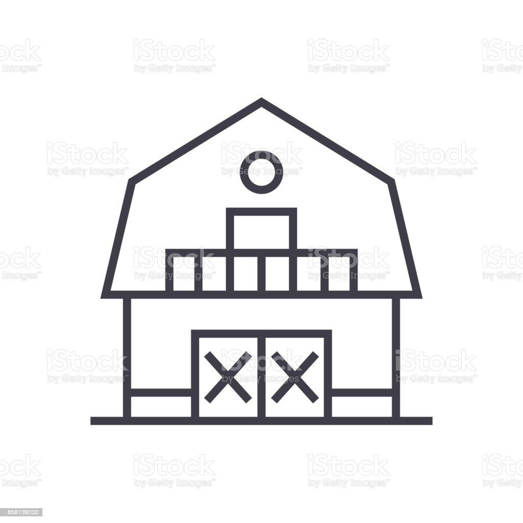 Warehousefarmbarn Vector Line Icon Sign Illustration On