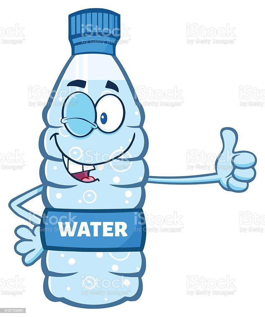 water bottle giving thumb stock