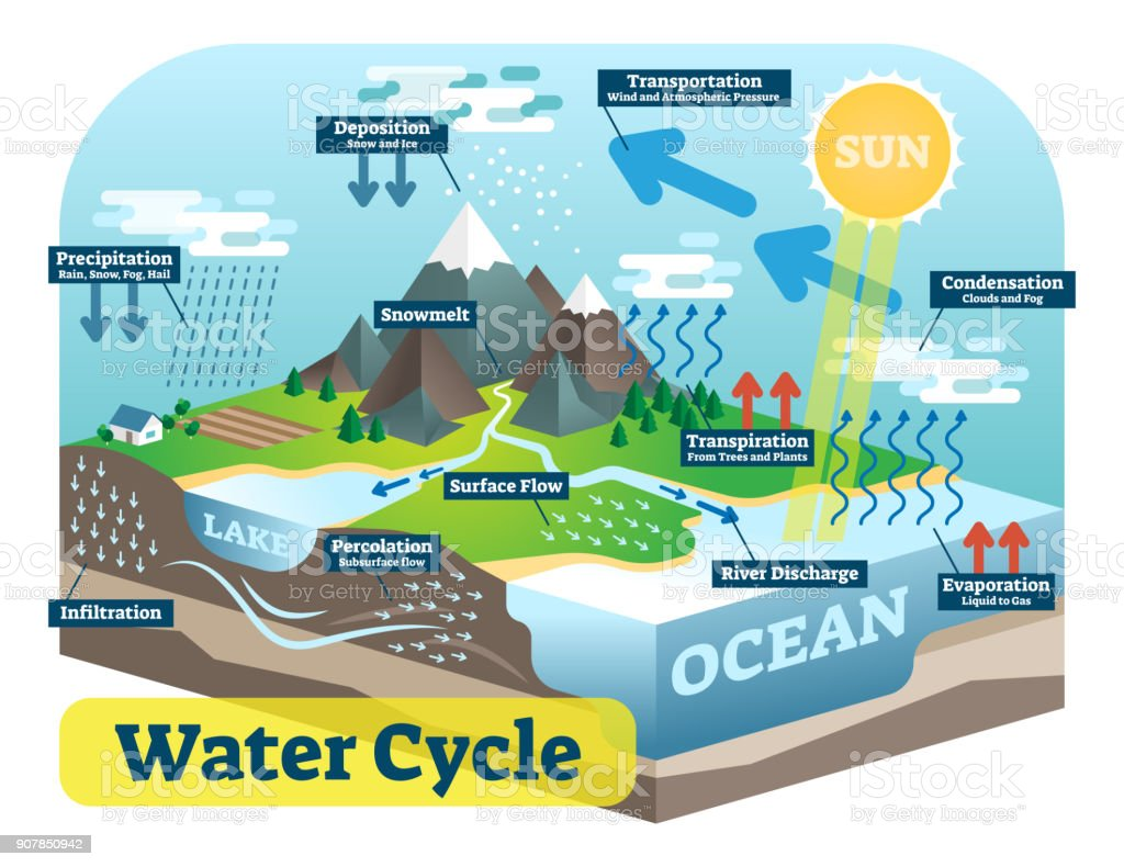 hight resolution of water cycle graphic scheme vector isometric illustration royalty free water cycle graphic scheme