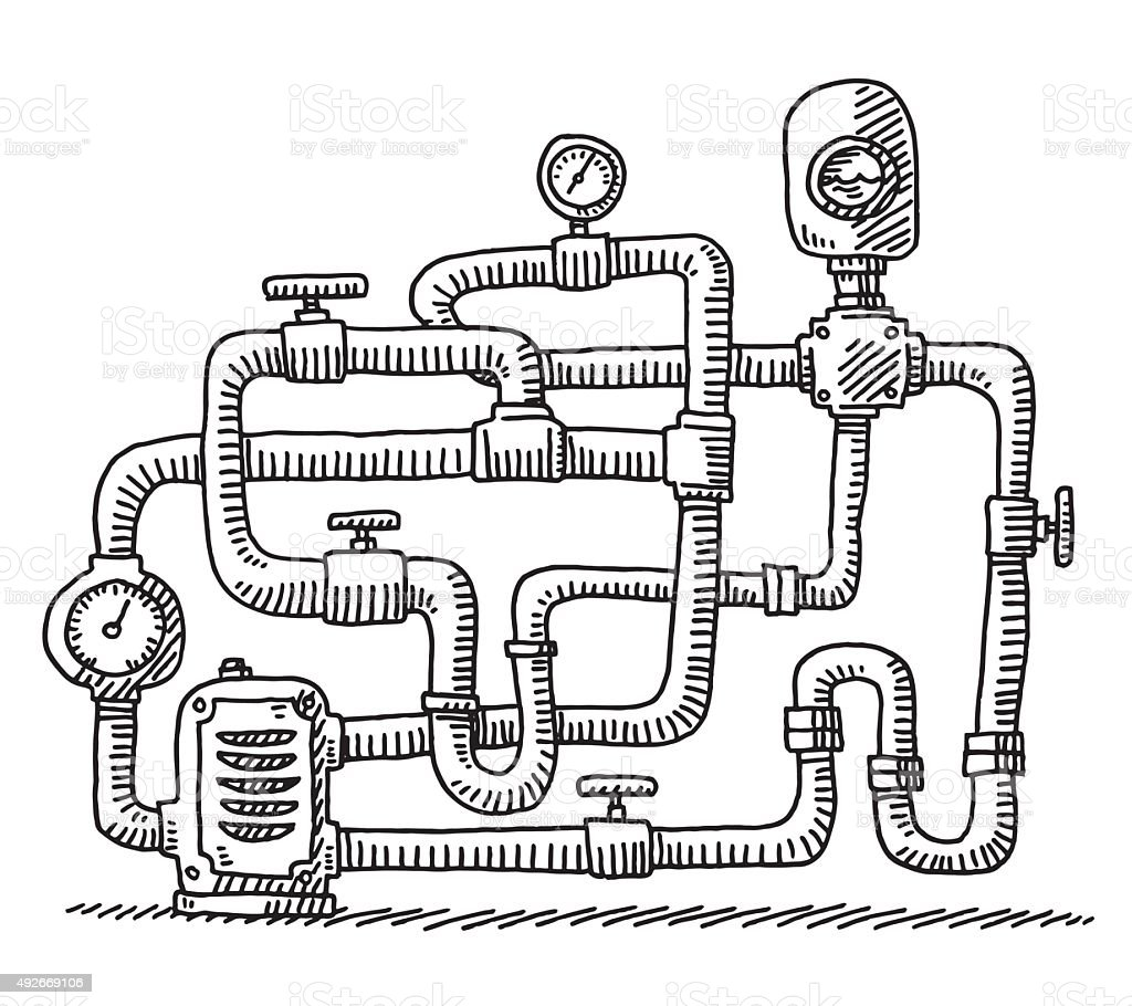 Water Pipe Closed Circuit Drawing Stock Illustration