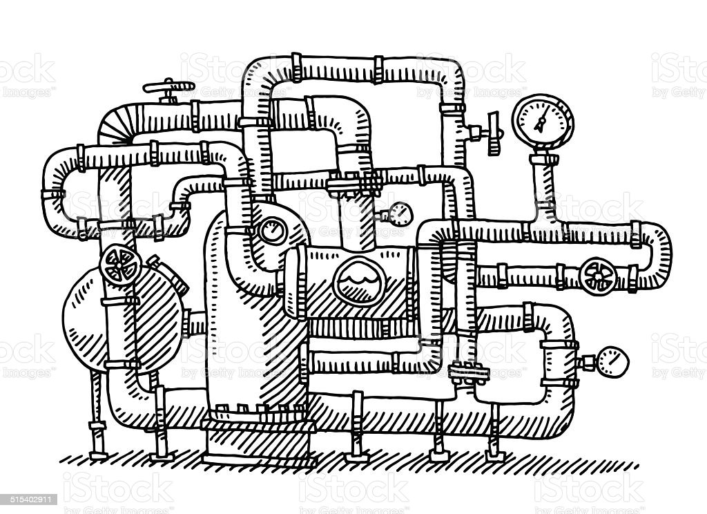 Water Pipe System Industry Drawing Stock Vector Art & More