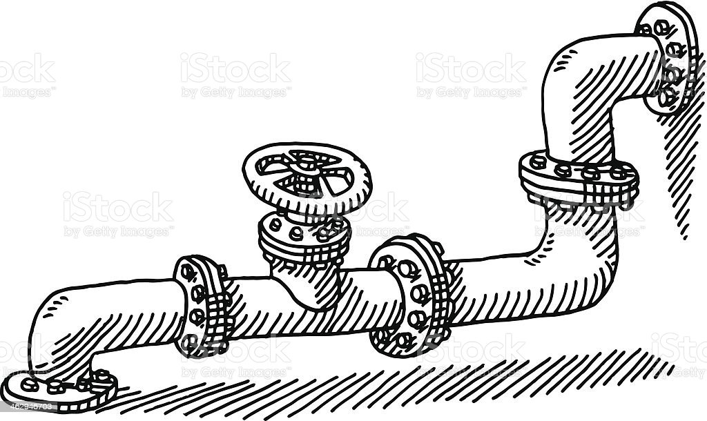 Water Pipe Valve Drawing Stock Vector Art & More Images of