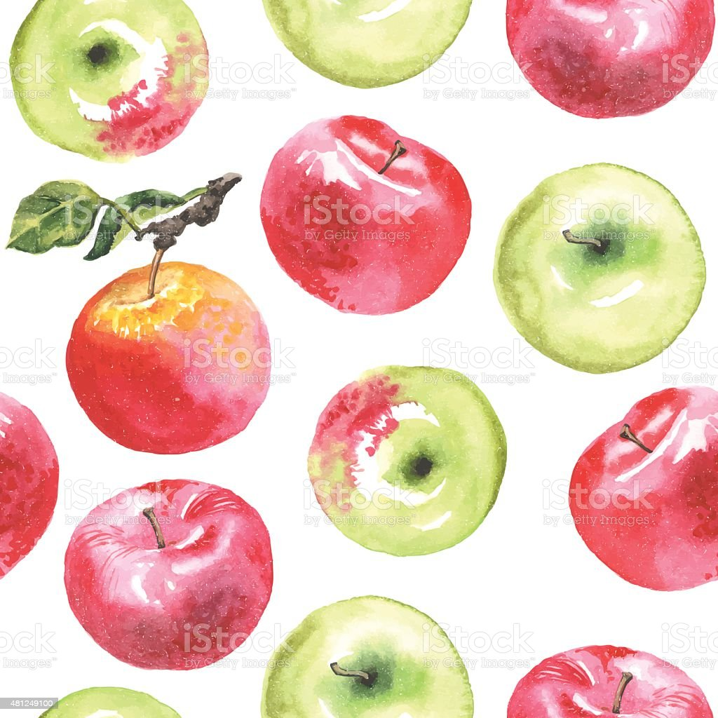 royalty free red apple watercolor