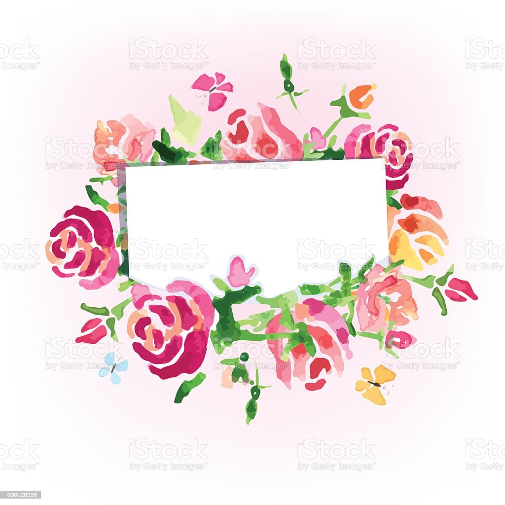 Watercolor Flowers Background On The Day Of Roses Vector