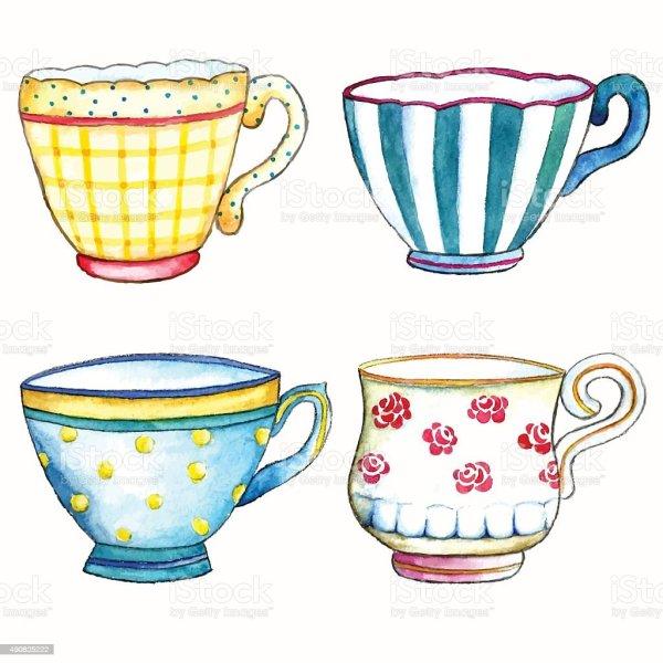 watercolor tea cups stock vector
