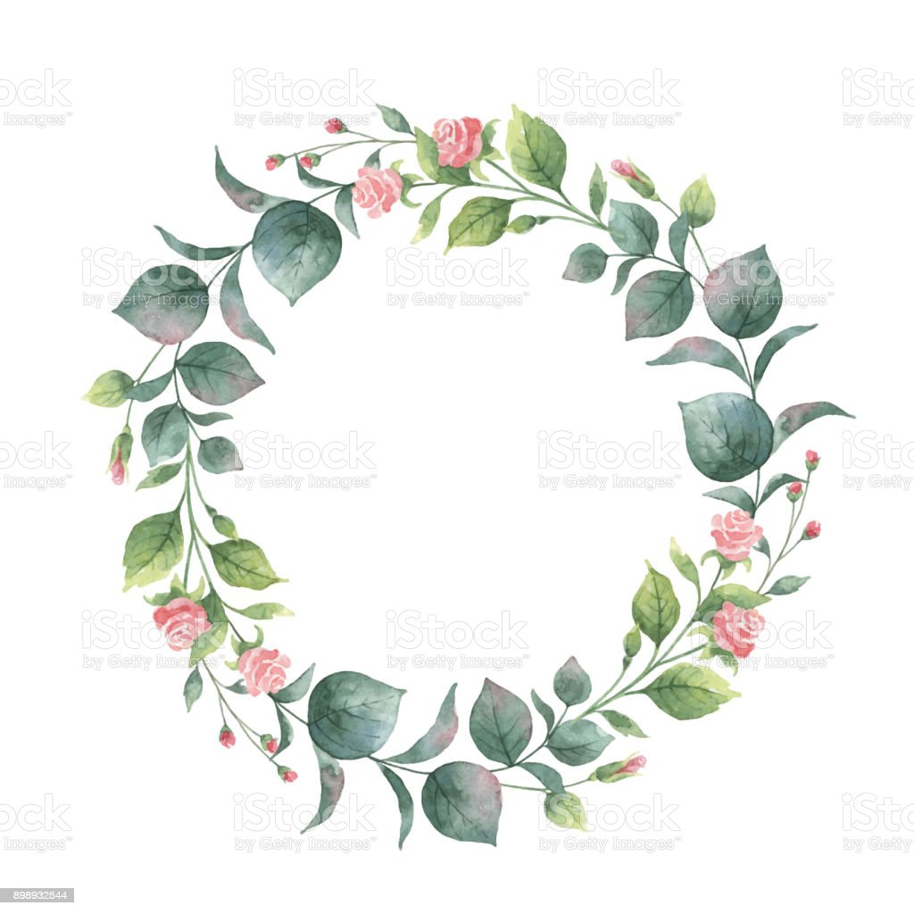 Watercolor Vector Round Wreath With Eucalyptus Leaves And