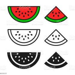 watermelon outline vector icon isolated symbol sliced ripe melon circle ukraine clean close