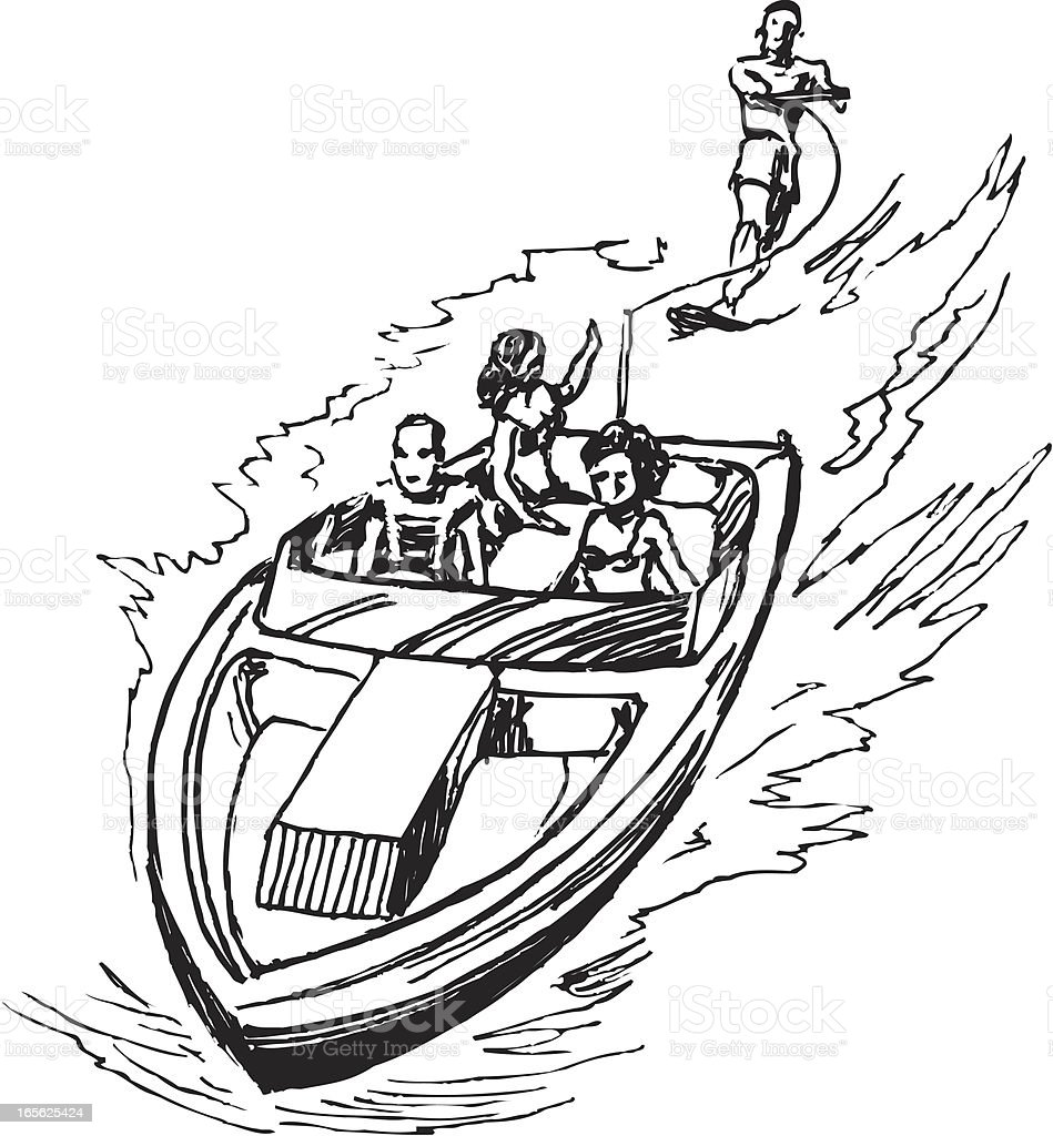 Waterskiing And Boat Stock Vector Art & More Images of