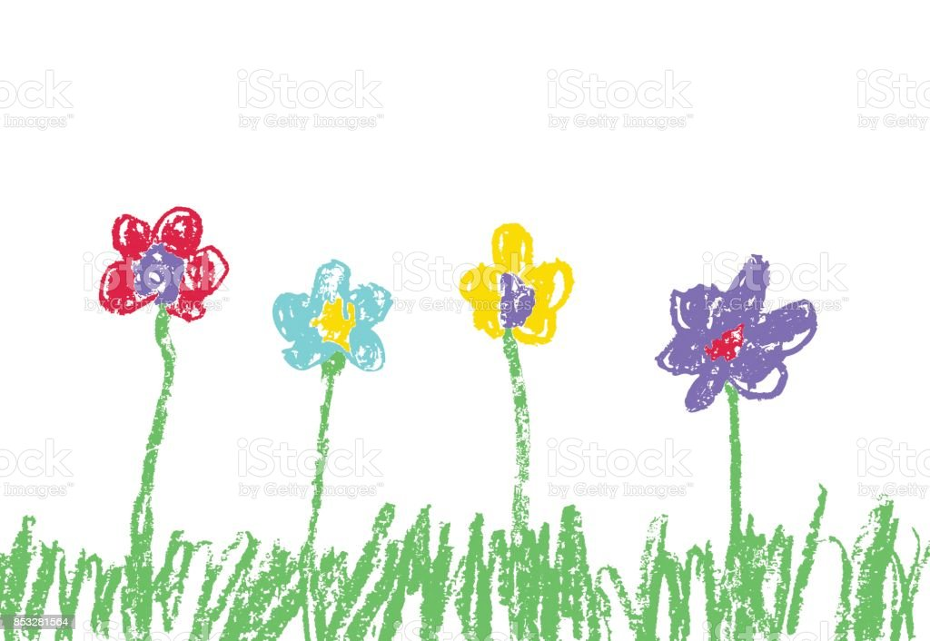 Wax Crayon Like Kids Hand Drawn Colorful Flowers With