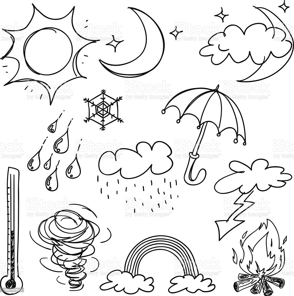 Weather Icon Collection In Black And White stock vector