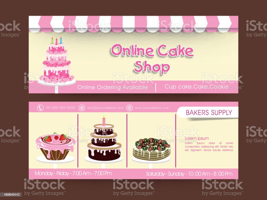 Web Header Design For Cupcake Shop Stock Vector Art More Images Of