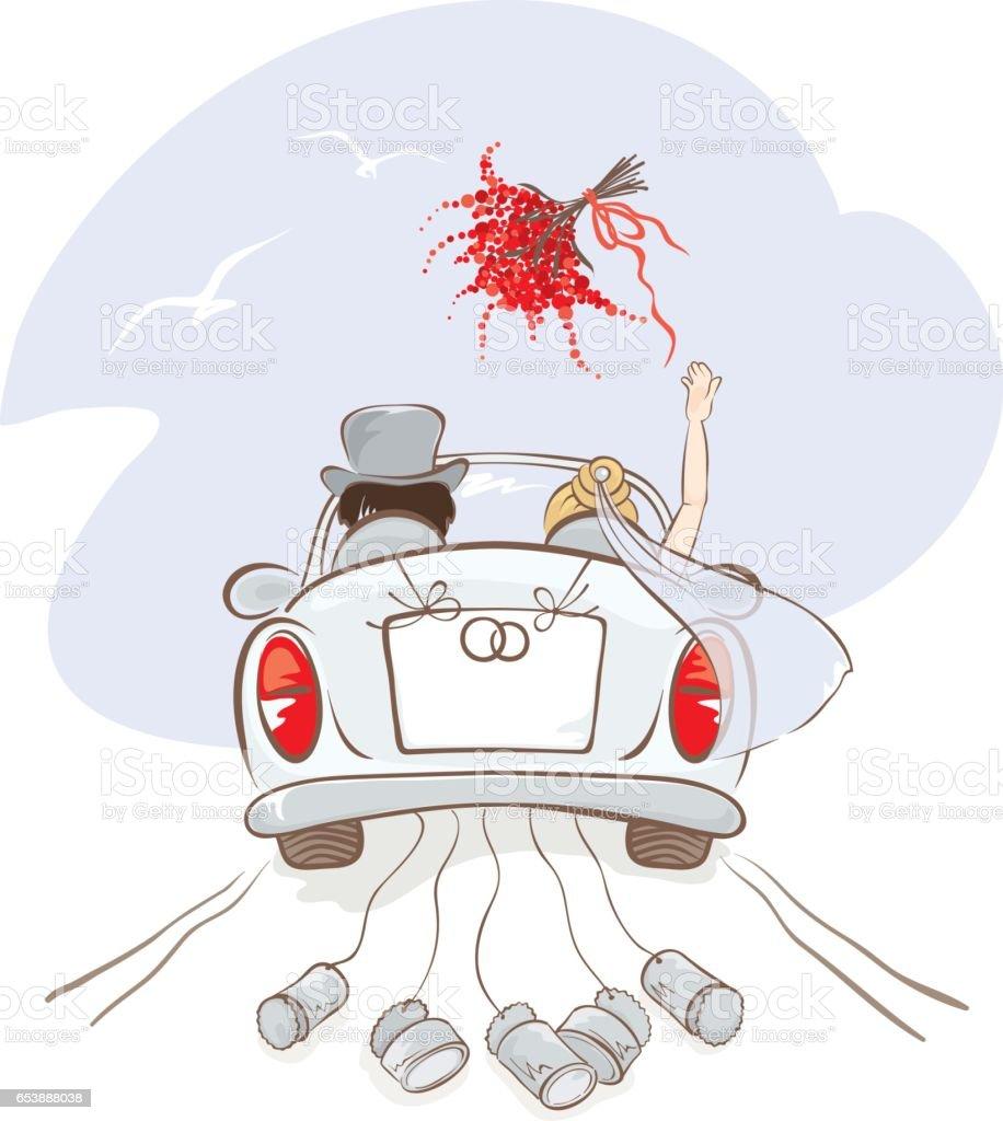Hochzeit Auto Stock Vektor Art und mehr Bilder von Auto 653888038  iStock