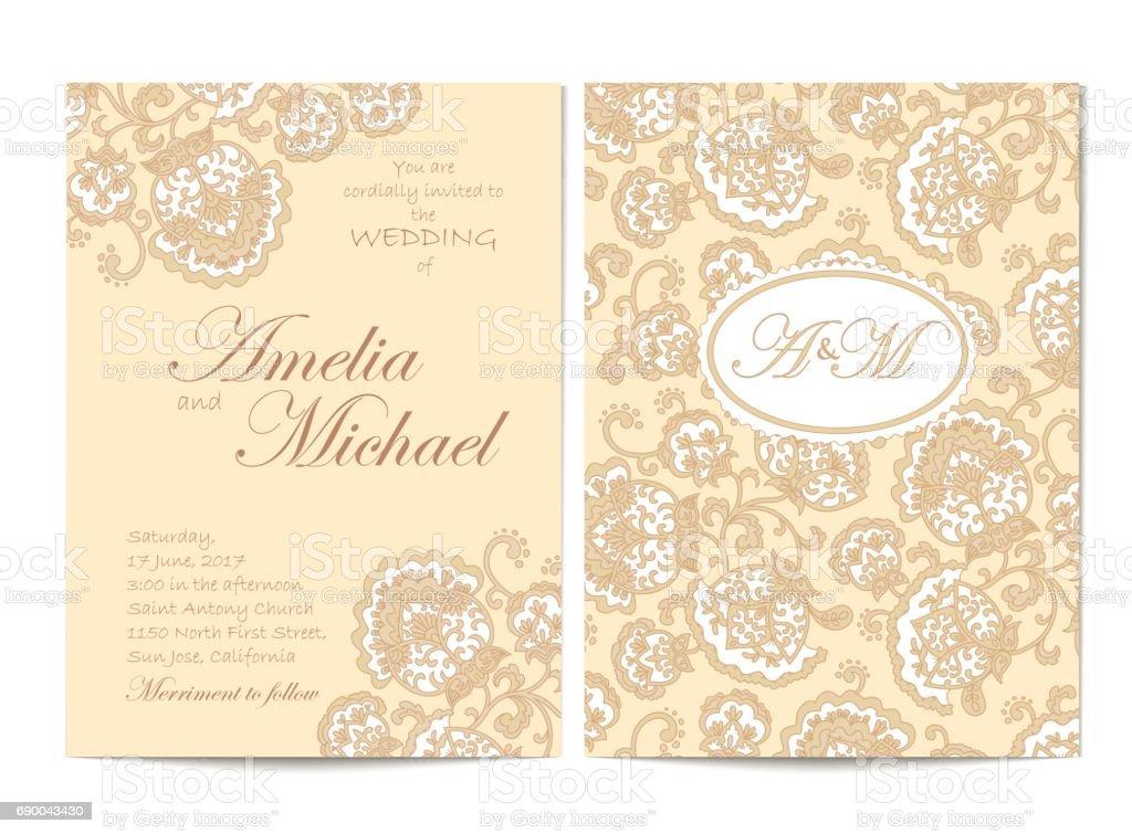 wedding invitation card beige stock illustration download image now istock