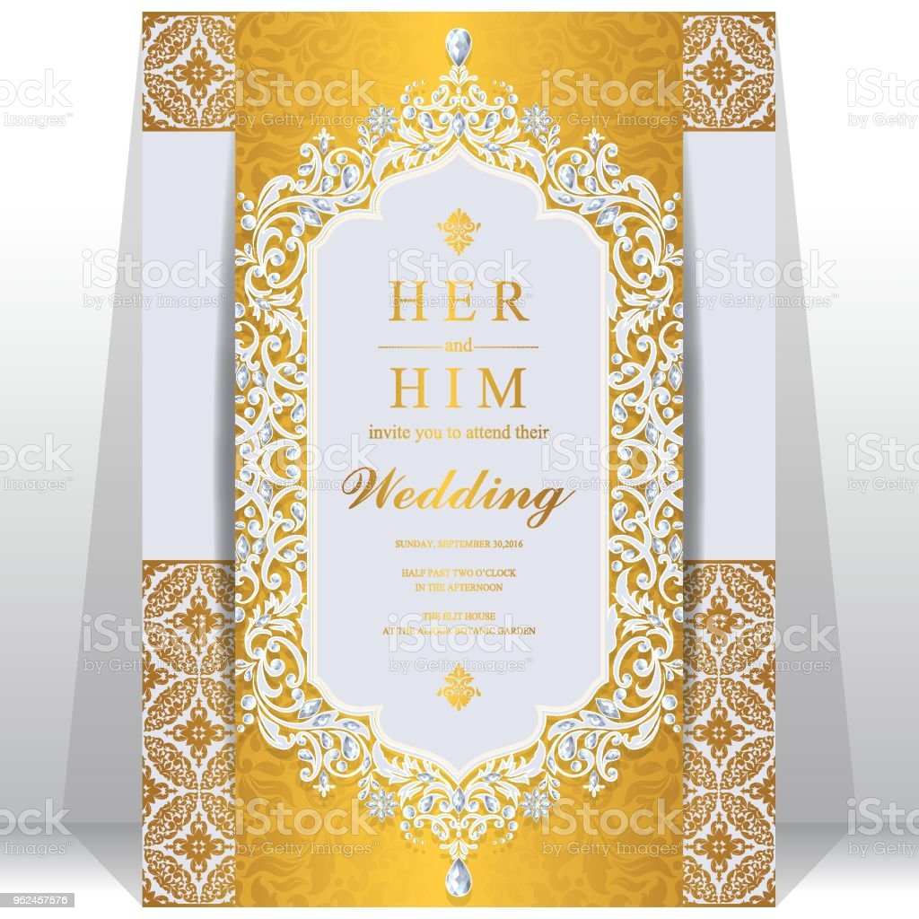 https www istockphoto com vector wedding invitation card templates with gold patterned and crystals on paper color gm952457576 260020818