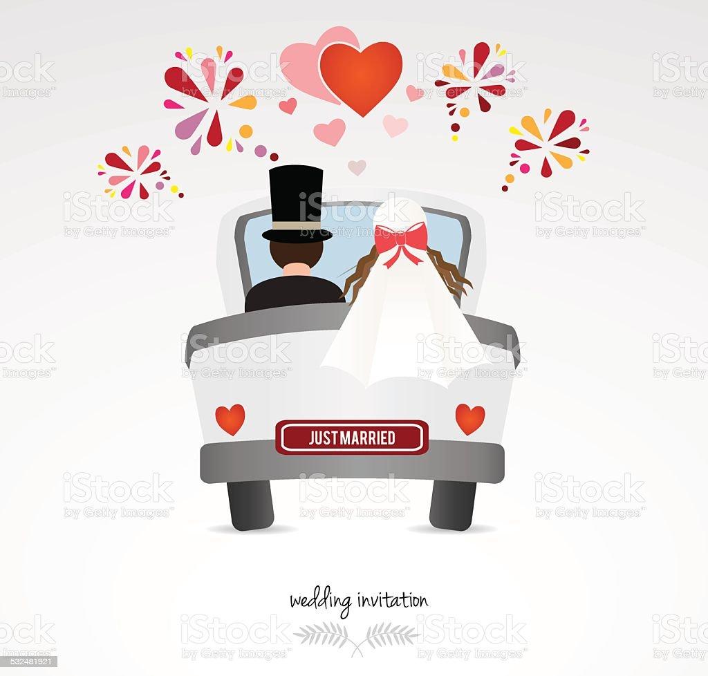 Hochzeit Einladung Paar In Hochzeit Auto Stock Vektor Art und mehr Bilder von 2015  iStock