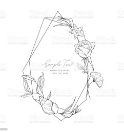 wedding invitation frame sea elements flowers leaves isolated on white decorative elegant card sketched floral branches shell rose algae  [ 1024 x 1024 Pixel ]