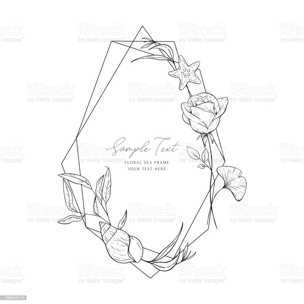 hight resolution of wedding invitation frame sea elements flowers leaves isolated on white decorative elegant card sketched floral branches shell rose algae