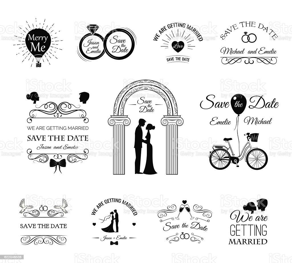 Wedding Invitation Template Vintage Design Elements