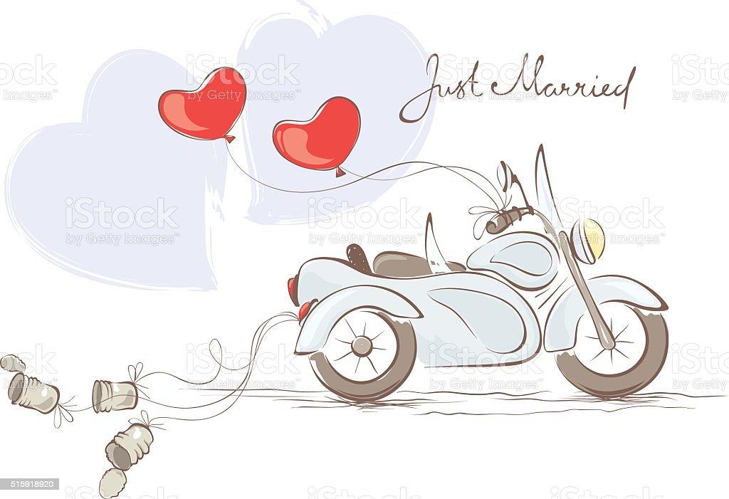 Hochzeit Motorrad Mit Beiwagen Stock Vektor Art und mehr