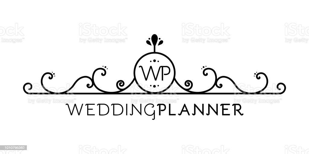 Wedding Planner Logo Flourish Symbol Abstract Element For