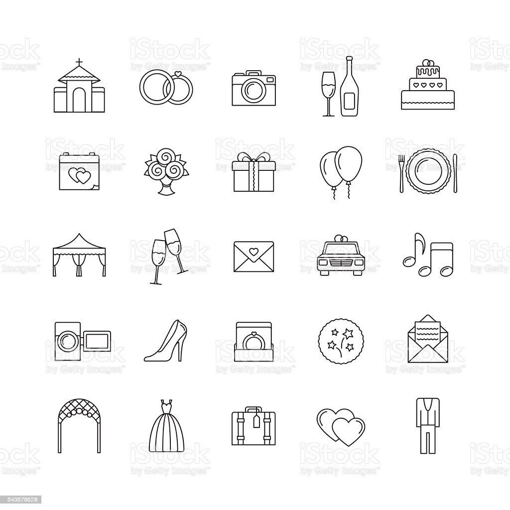 Wedding Vector Line Icons Set Outline Icons Stock Vector