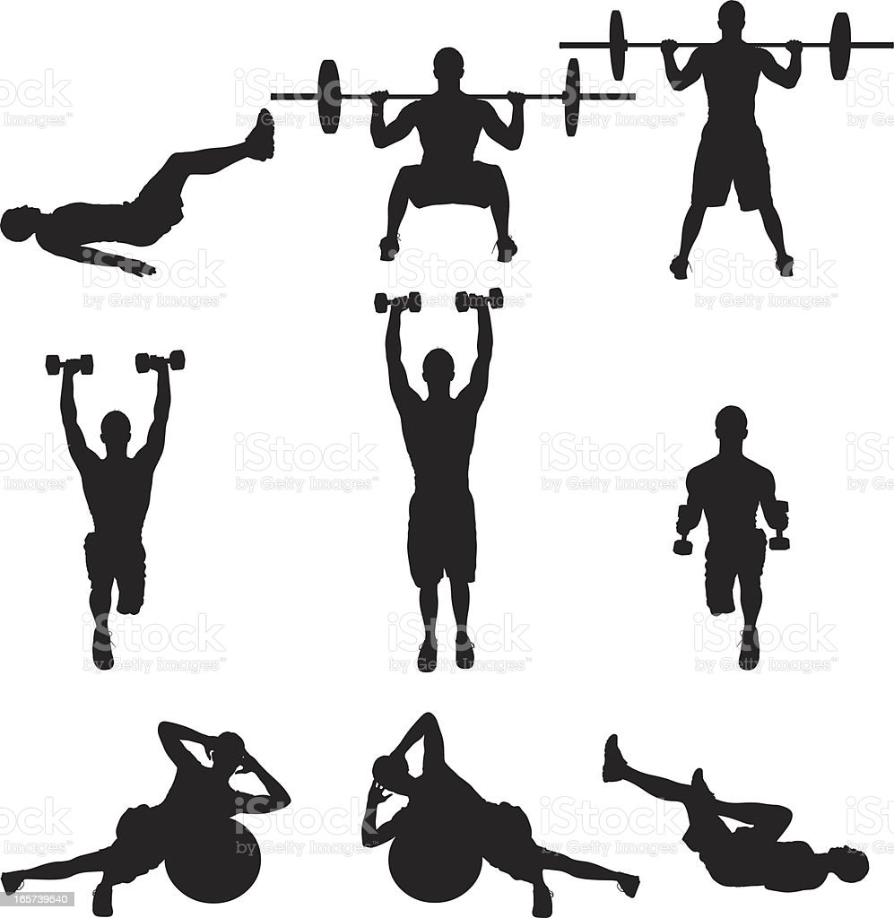 Weight Training Men Working Out stock vector art 165739540