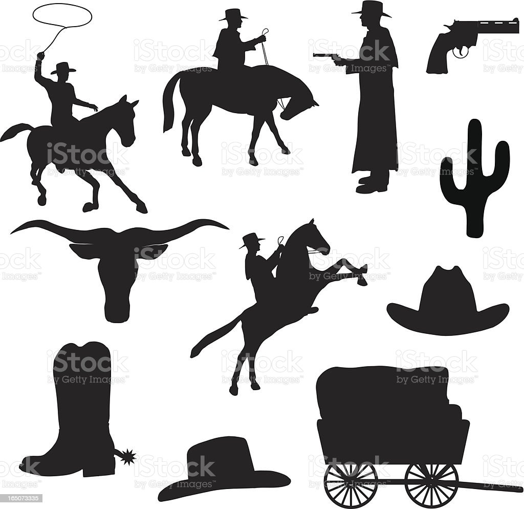 western silhouette collection stock