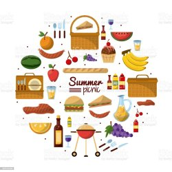 picnic poster summer vector colorful backgrounds utilities affiche achtergrond witte colombia illustratie reeks drank zomerpicknick met voedsel barbecue grill meal